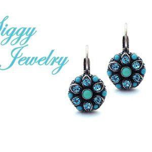 Swarovski Crystal Turquoise Cluster Drop Earrings